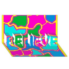 Colorful abstract design BELIEVE 3D Greeting Card (8x4)