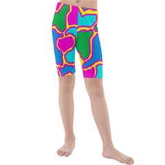 Colorful abstract design Kid s Mid Length Swim Shorts