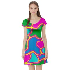 Colorful abstract design Short Sleeve Skater Dress