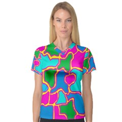 Colorful abstract design Women s V-Neck Sport Mesh Tee