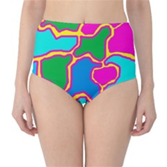 Colorful abstract design High-Waist Bikini Bottoms