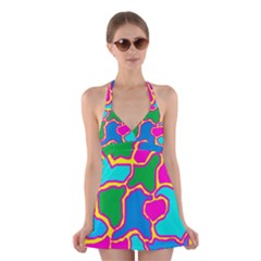 Colorful abstract design Halter Swimsuit Dress