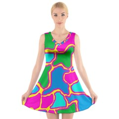 Colorful abstract design V-Neck Sleeveless Skater Dress