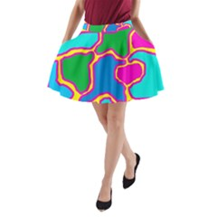 Colorful abstract design A-Line Pocket Skirt
