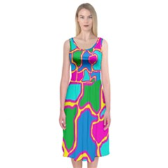 Colorful abstract design Midi Sleeveless Dress