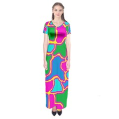 Colorful abstract design Short Sleeve Maxi Dress