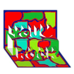 Colorful abstract design You Rock 3D Greeting Card (7x5)