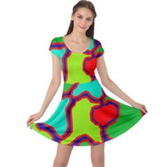 Colorful abstract design Cap Sleeve Dresses