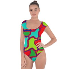 Colorful abstract design Short Sleeve Leotard