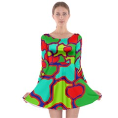 Colorful abstract design Long Sleeve Skater Dress