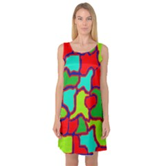 Colorful abstract design Sleeveless Satin Nightdress