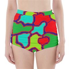 Colorful abstract design High-Waisted Bikini Bottoms