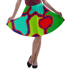 Colorful abstract design A-line Skater Skirt