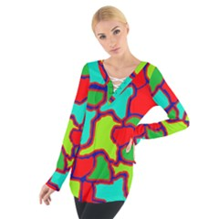 Colorful abstract design Women s Tie Up Tee