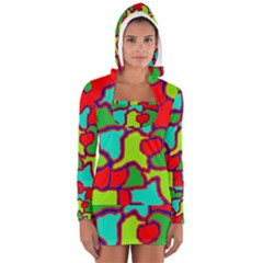 Colorful abstract design Women s Long Sleeve Hooded T-shirt