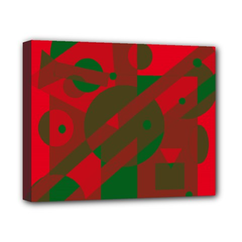 Red and green abstract design Canvas 10  x 8
