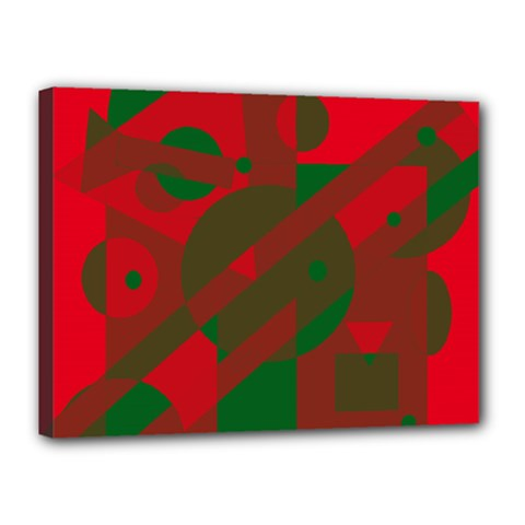 Red and green abstract design Canvas 16  x 12