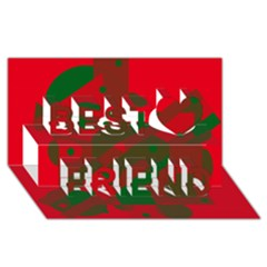 Red and green abstract design Best Friends 3D Greeting Card (8x4)