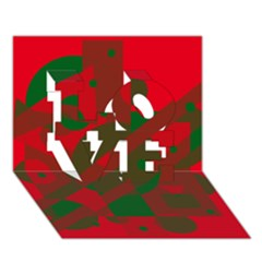 Red and green abstract design LOVE 3D Greeting Card (7x5)