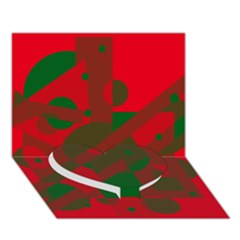 Red and green abstract design Heart Bottom 3D Greeting Card (7x5)