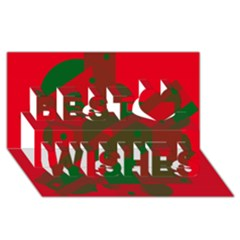 Red and green abstract design Best Wish 3D Greeting Card (8x4)