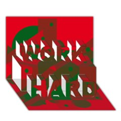 Red and green abstract design WORK HARD 3D Greeting Card (7x5)
