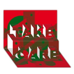Red and green abstract design TAKE CARE 3D Greeting Card (7x5)