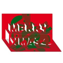 Red and green abstract design Merry Xmas 3D Greeting Card (8x4)