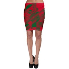 Red and green abstract design Bodycon Skirt