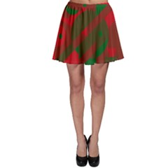 Red and green abstract design Skater Skirt