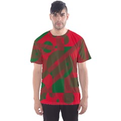 Red and green abstract design Men s Sport Mesh Tee