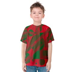Red and green abstract design Kid s Cotton Tee