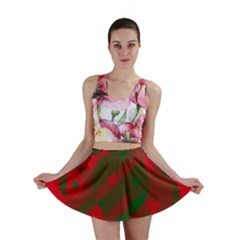 Red and green abstract design Mini Skirt