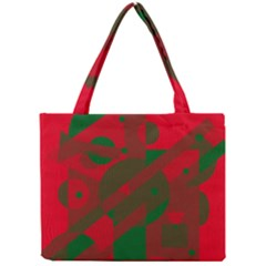 Red and green abstract design Mini Tote Bag