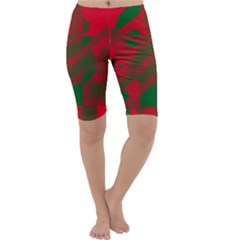 Red and green abstract design Cropped Leggings