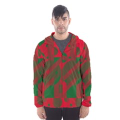 Red and green abstract design Hooded Wind Breaker (Men)