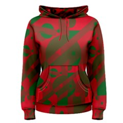 Red and green abstract design Women s Pullover Hoodie