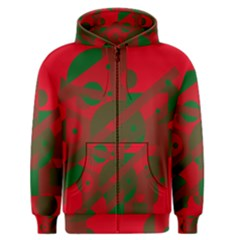 Red and green abstract design Men s Zipper Hoodie