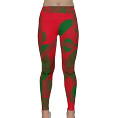 Red and green abstract design Yoga Leggings