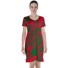 Red and green abstract design Short Sleeve Nightdress