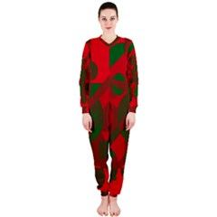 Red and green abstract design OnePiece Jumpsuit (Ladies)
