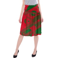 Red and green abstract design Midi Beach Skirt