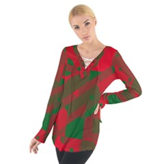 Red and green abstract design Women s Tie Up Tee