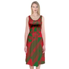 Red and green abstract design Midi Sleeveless Dress