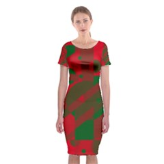 Red and green abstract design Classic Short Sleeve Midi Dress