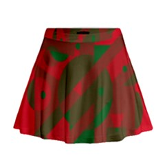Red And Green Abstract Design Mini Flare Skirt