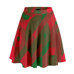 Red and green abstract design High Waist Skirt