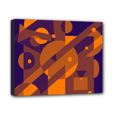 Blue and orange abstract design Canvas 10  x 8