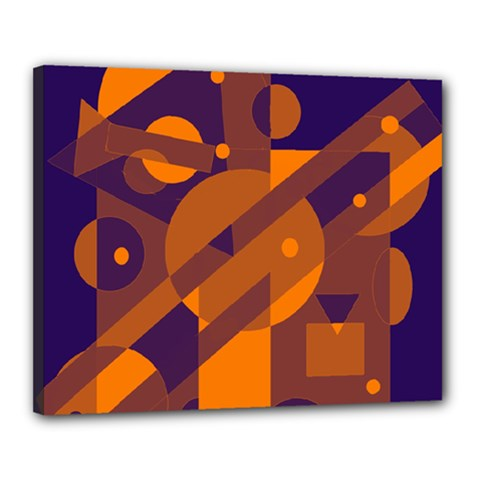Blue and orange abstract design Canvas 20  x 16