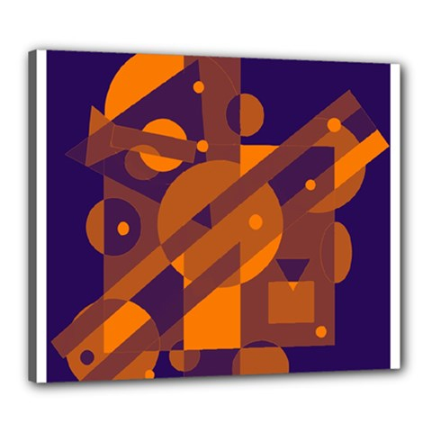 Blue and orange abstract design Canvas 24  x 20